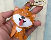 Small size - Flora the Shiba Inu vegetable tanned leather charm with lobster clasps ( Brown / Beige )