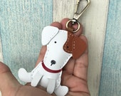 Small size - Tino the Jack Russell cowhide leather charm with lobster clasps version ( White / brown )