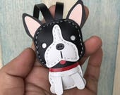 Small size - Deuce the Boston Terrier cowhide leather charm ( Black / White )