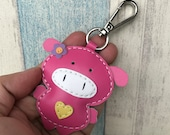 Small size - Polly the Pig leather charm with lobster clasps version ( Fuschia )