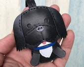 Small size - Sam the Shih Tzu cowhide leather charm ( Black )