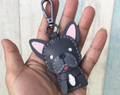 Small size - Kenny The French Bulldog cowhide leather charm with black lobster clasps version ( Dark gray )