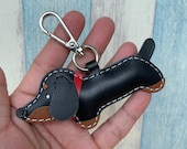 Small size - Annie the Dachshund cowhide leather charm with lobster clasps ( black )