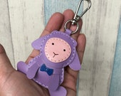 Small size - Chii the Lamb cowhide leather charm with lobster clasps version ( Light Purple)