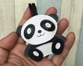 Small size - Cody the Panda cowhide leather charm ( Black / white )