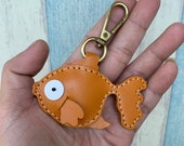 Small size - Queenie the gold fish Vegetable tanned leather charm with lobster clasps ( light brown )