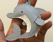 Small size - Dory the Dolphin cowhide leather charm ( grey )