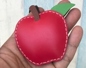 Small size - Apple cowhide leather charm ( Red )