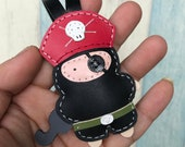 Small size - Hez the Pirate cowhide leather charm ( Black / Red  )