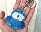 Small size - Fanny the Owl cowhide leather charm with lobster clasps version ( Blue shape )