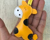 Small size - Gil the giraffe cowhide leather charm ( Bright Yellow )