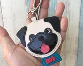 Small size - Bobby the big head pug leather charm with lobster clasps version ( Beige )
