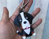 Small size - Sammy the Swiss Mountain Dog cowhide leather charm in lobster clasps version ( Black / White )
