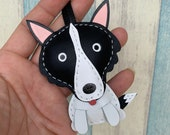 Small size - Silly the Border Collie cowhide leather Bagcharm ( Black )