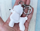Small size - Tina the Poodle cowhide leather charm with lobster clasps version ( White )