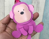 Big size - Kelvin the Monkey cowhide leather charm ( Hot Pink )