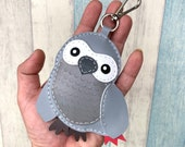 12% off - Big size - Chai the African Parrot cowhide leather charm with lobster clasps ( grey )