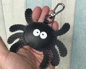 Small size - Munster the Spider cowhide leather charm with lobster clasps version ( Black )