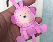 25% discount off - Small size - Kelvin the Monkey cowhide leather charm ( baby Pink  )