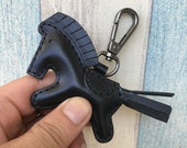 Small size - Beon the leather horse keychain with lobster clasps ( Black )