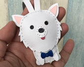 Small size - Snowy the Pomeranian cowhide leather charm ( White )