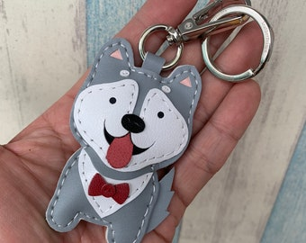 Small size - Lucy the Husky cowhide leather charm with lobster version ( Grey / White )