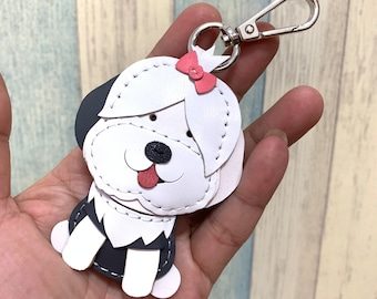 Small size - LuLu the old english sheepdog cowhide leather charm ( White )