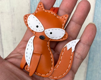 Small size - Alice the Fox cowhide leather charm ( Orange )