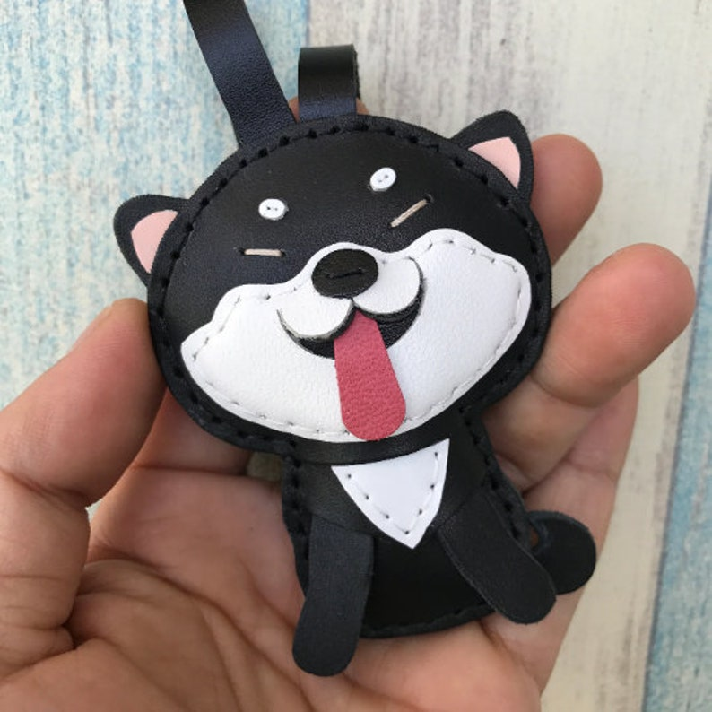 Small size Black  white Cindy the Shiba Inu cowhide leather charm