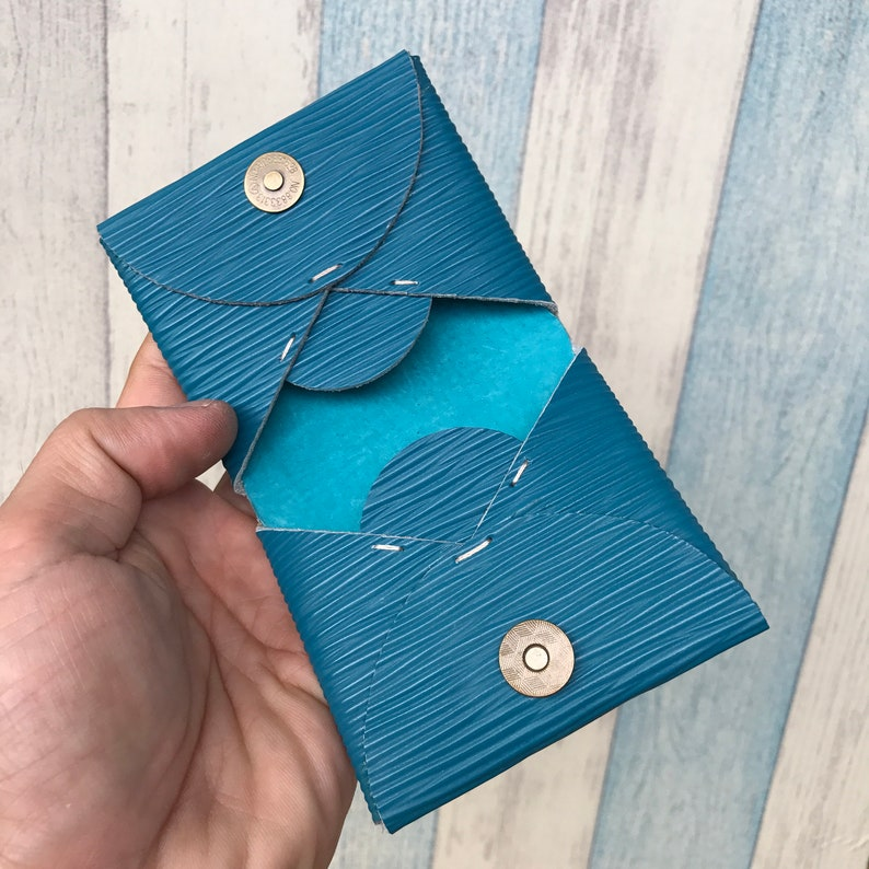Epi leather coin pouch Teal