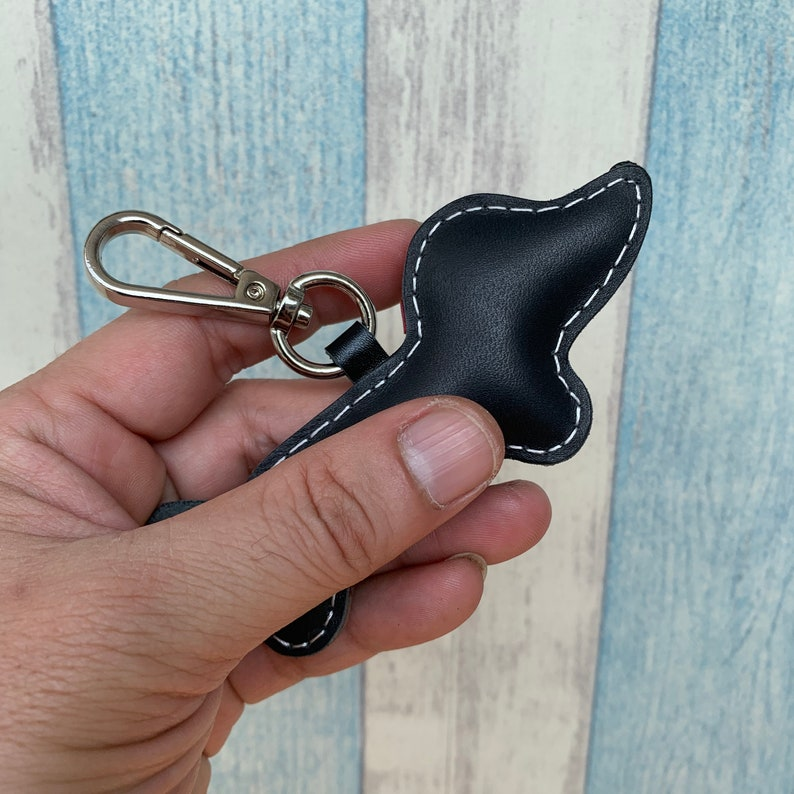 Annie the Dachshund cowhide leather charm with lobster clasps black Small size