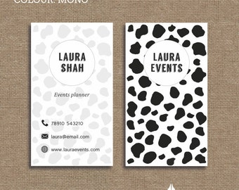 Printable stylish elegant retro pet shop animal print printable stylish elegant retro black and white cow animal print business card calling card for your business colourmoves