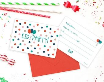 Eid note cards etsy pack of 5 eid party invitation set stopboris Choice Image