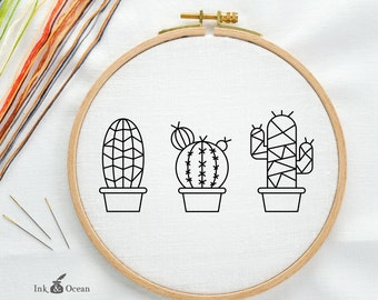 Modern Geometric Succulent Cactus, Prickly Pear Digital hand embroidery pattern , PDF instant Download