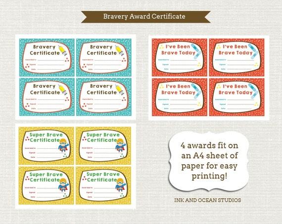 Printable Teacher Doctors Dentist Bravery Certificate Awards Etsy