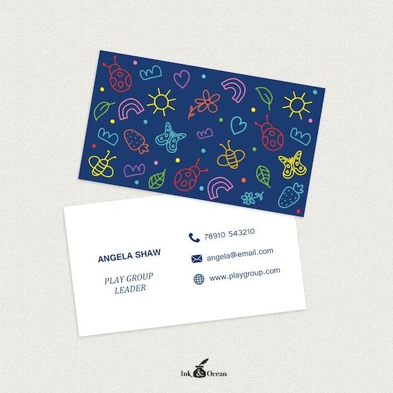 Druckbare Stilvolle Lehrer Tagesmutter Schule Bildung Visitenkarte Visitenkarte Für Ihr Unternehmen Zu Spielen In 3 Farben