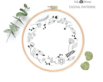 Woodland forest flowers nature wreath, sampler Digital hand embroidery pattern , PDF instant Download