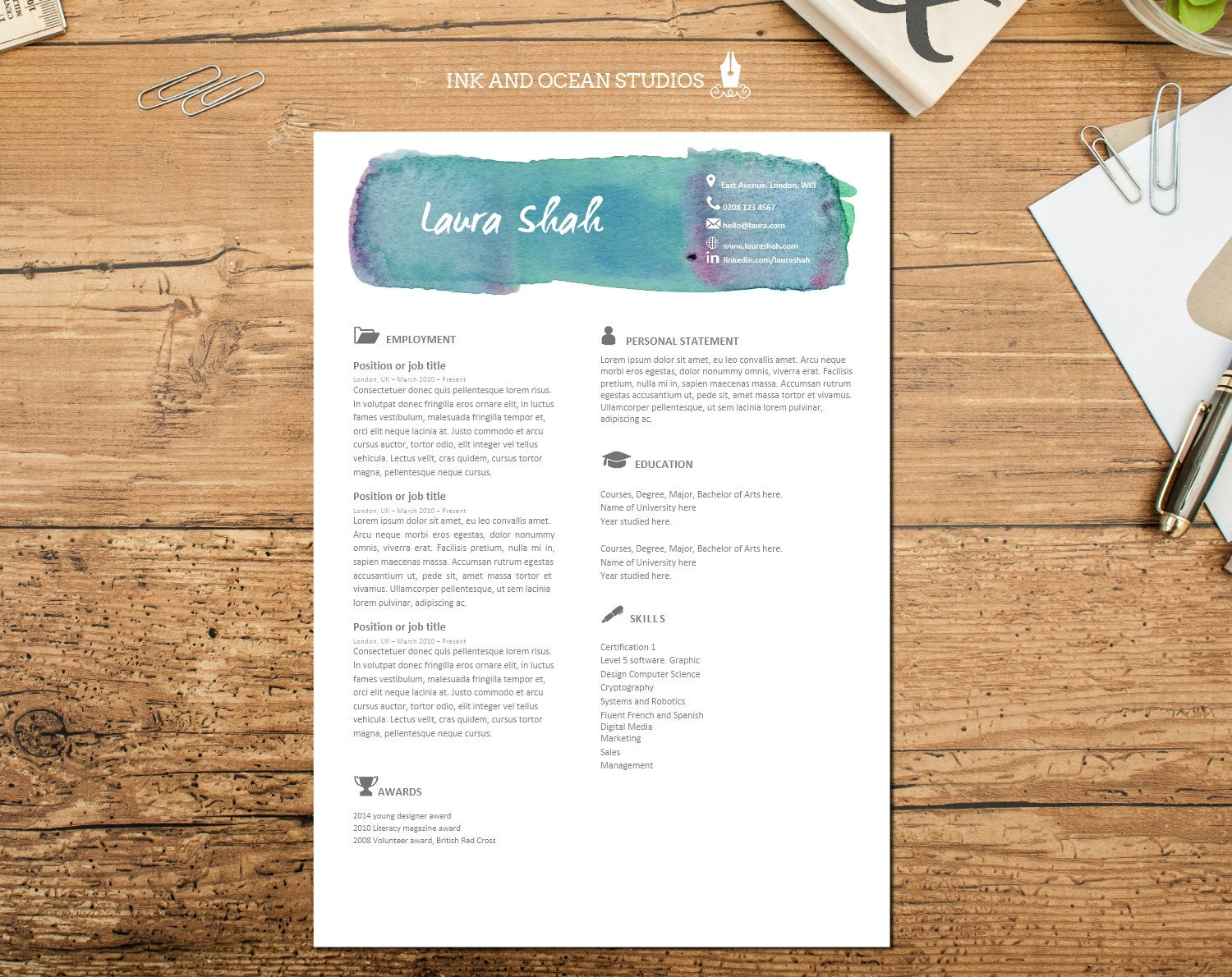 Resume / CV design with cover letter and reference page - WORD FORMAT -  watercolor brush stroke