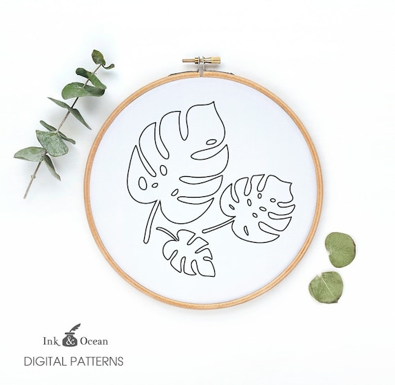 Monstera Tropical Plant Leaf Digital Hand Embroidery Pattern Etsy However, the pattern includes detailed stitching instructions. etsy