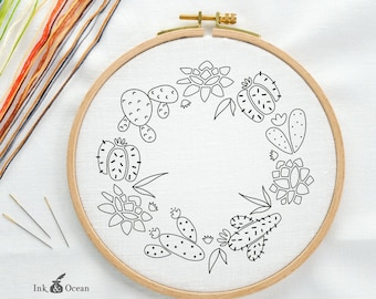 Cactus succulent wreath, sampler Digital hand embroidery pattern , PDF instant Download