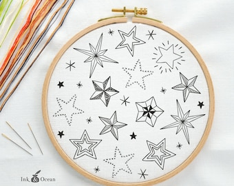 Star night sky, sampler Digital hand embroidery pattern , PDF instant Download