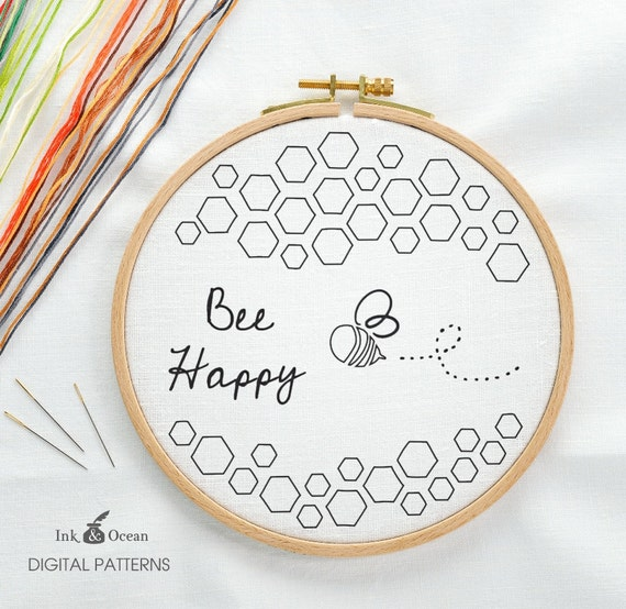 Bee Happy Honey Bee Digital Hand Embroidery Pattern Pdf Etsy