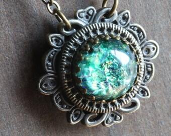 Neo victorian Jewellery - Necklace - Green Harlequin glass Pendant