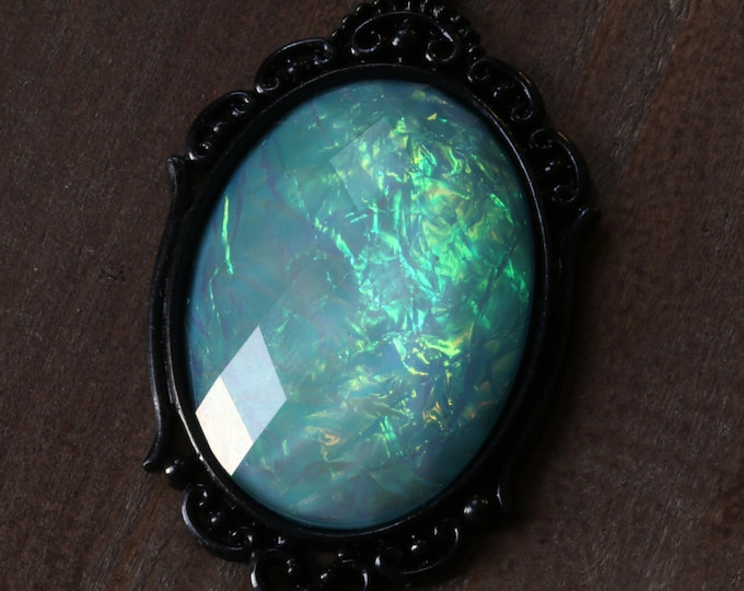 Neo victorian Goth Jewelry - Necklace - Aqua Opalescent Pendant and Uranium glass beads - Black Gun metal