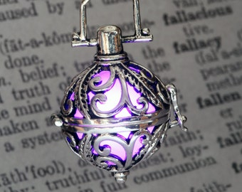 Glowing Pendant Glowing Necklace Ornate Fairy Locket with Purple glowing Orb Fantastic Valentine Gift for her - LED Jewel