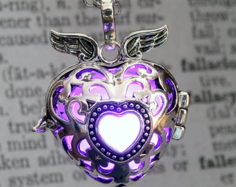 Glowing Pendant Winged Heart Locket Purple LED jewelry