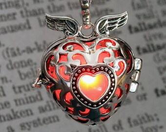 Red Pendant Winged Heart Locket