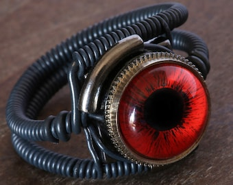 Steampunk Ring, Red Eye, Black, beholder ring, Dungeons and dragons Jewelry,magic ring. Third eye ring