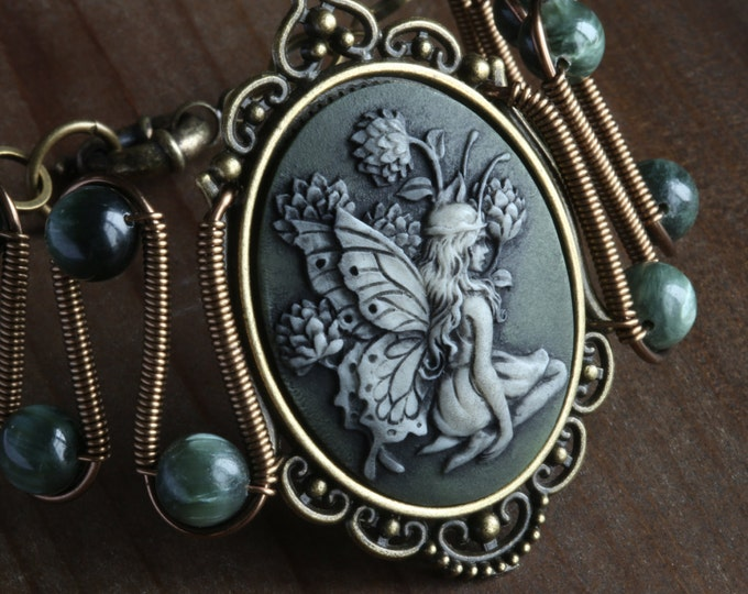 NEW Fairy bracelet with green seraphinite, Antique brass