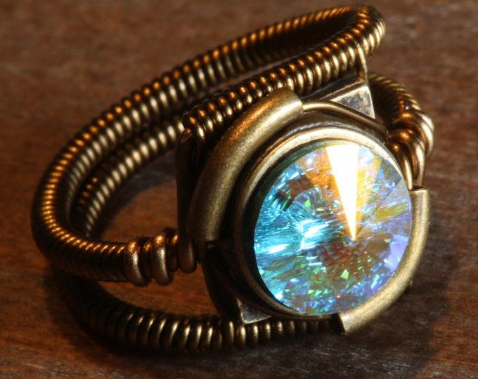 Steampunk Jewelry - RING - Aurora Borealis Swarovski Crystal (Custom size available - see description)